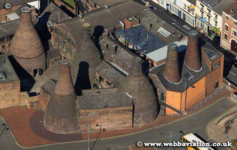aerial photograph of Bottle Kilns in Stoke-on-Trent Staffordshire UK - the  Potteries