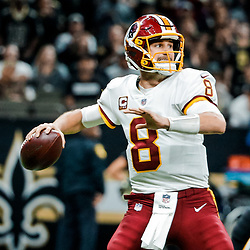 Nov 19, 2017; New Orleans, LA, USA; Washington Redskins quarterback Kirk Cousins (8) against the New Orleans Saints during the second half of a game at the Mercedes-Benz Superdome. The Saints defeated the Redskins 34-31 in overtime. Mandatory Credit: Derick E. Hingle-USA TODAY Sports