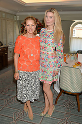 Left to right, AMANDA KYME and PIPPA VOSPER at a breakfast hosted by Halcyon Days at Fortnum & Mason, 181 Piccadilly, London on 8th July 2014.