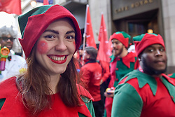 © Licensed to London News Pictures. 19/11/2017. London, UK.  Elves join popular toy characters preparing to take part in Hamleys' annual Toy Parade in Regent Street along with marching bands and toy vehicles.  Photo credit: Stephen Chung/LNP