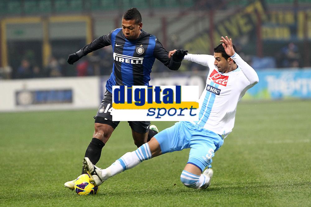 """Fredy Guarin Inter Miguel Britos Napoli.Milano 09/12/2012 Stadio """"San Siro"""".Football Calcio Serie A 2012/13.Inter v Napoli.Foto Insidefoto Paolo Nucci."""