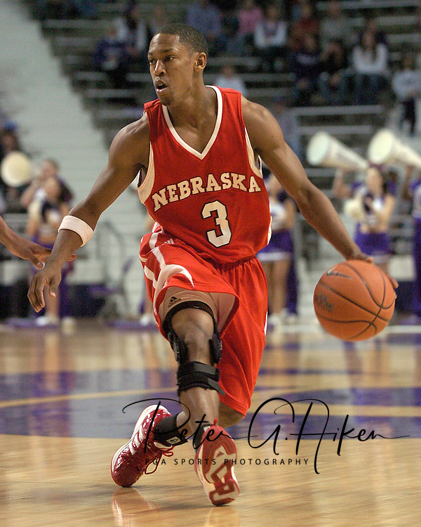 Nebraska guard Charles Richardson Jr. brings the ball up court against Kansas State.  The Huskers defeated K-State 57-42 at Bramlage Coliseum in Manhattan, Kansas, January 11, 2006.