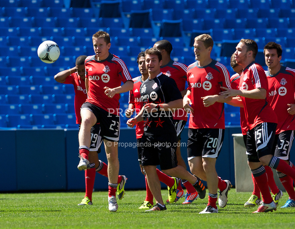 TORONTO, CANADA - Friday, July 20, 2012: Toronto's Terry Dunfield and his squad during training ahead of Liverpool's first match of the North American pre-season tour at the Rogers Centre. (Pic by David Rawcliffe/Propaganda)
