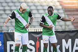 February 17, 2018 - Brussels, BELGIUM - Cercle's Queiroz Barcelos Crysan and Cercle's Guevin Tormin celebrate after scoring during a soccer game between Union Saint-Gilloise and Cercle Brugge, in Brussels, Saturday 17 February 2018, on day 27 of the division 1B Proximus League competition of the Belgian soccer championship. BELGA PHOTO LAURIE DIEFFEMBACQ (Credit Image: © Laurie Dieffembacq/Belga via ZUMA Press)