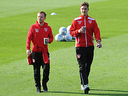 Adam Campbell of Morecambe and Mitchell Lund of Morecambe arrive at the New Lawn Stadium - Mandatory by-line: Nizaam Jones/JMP - 28/10/2017 - FOOTBALL - New Lawn Stadium - Nailsworth, England - Forest Green Rovers v Morecambe - Sky Bet League Two