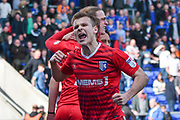 Gillingham Midfielder, Jake Hessenthaler (8) celebrates 1-1  during the EFL Sky Bet League 1 match between Oldham Athletic and Gillingham at Boundary Park, Oldham, England on 14 April 2018. Picture by Mark Pollitt.