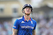 England Ben Stokes out for 28 during the Royal London One Day International match between England and New Zealand at the Oval, London, United Kingdom on 12 June 2015. Photo by Phil Duncan.