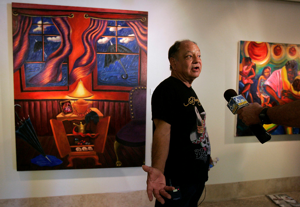 "Michael Zamora/Caller-Times.Actor Cheech Marin does an interview for members of the media Wednesday, Sept. 16, 2009 at the opening of the ""Menudo"" exhibit at the Art Museum of South Texas in Corpus Christi. Marin brought his personal collection of Chicano art to the museum, giving museum members a chance to preview the exhibit and hear the comedian talk about his interest in art."