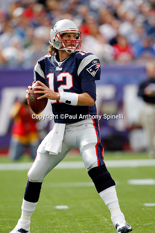 New England Patriots quarterback Tom Brady (12) looks to throw a pass during the NFL regular season week 3 football game against the Buffalo Bills on September 26, 2010 in Foxborough, Massachusetts. The Patriots won the game 38-30. (©Paul Anthony Spinelli)