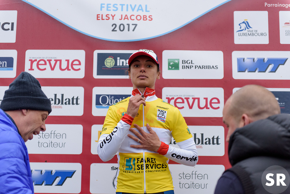 Ashleigh Moolman Pasio is the race leader after the Prologue of Festival Elsy Jacobs 2017. A 2.8 km individual time trial on April 28th 2017, in Cessange, Luxembourg. (Photo by Sean Robinson/Velofocus)