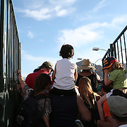 March 4, 2014, Indian Wells, California: <br /> Fans gather to watch Rafael Nadal on the practice courts at the Indian Wells Tennis Garden. <br /> (Photo by Billie Weiss/BNP Paribas Open)