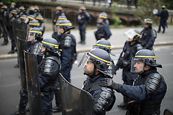 © Licensed to London News Pictures. 16/04/2017. Paris, France. French riot police at the demonstration . Antifascist protesters opposed to a meeting by French far-right party , Front National , hold a demonstration in the North East of Paris . Photo credit: Joel Goodman/LNP