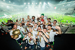 Players of NK Olimpija celebrate with a trophy after winning during football match between NK Aluminij and NK Olimpija Ljubljana in the Final of Slovenian Football Cup 2017/18, on May 30, 2018 in SRC Stozice, Ljubljana, Slovenia. Photo by Vid Ponikvar / Sportida