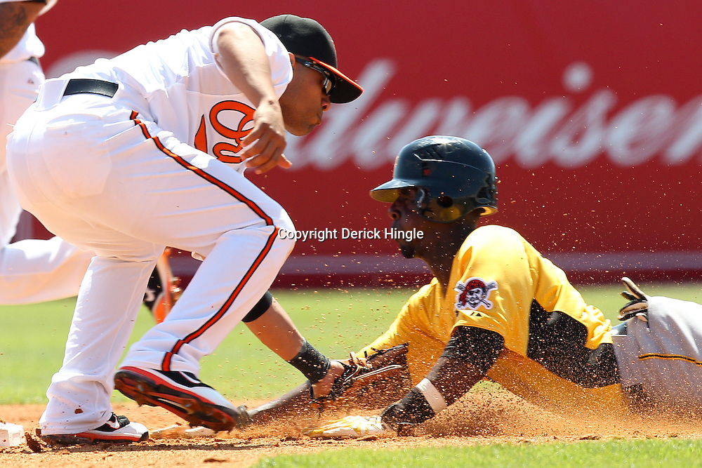 March 14, 2011; Sarasota, FL, USA; Baltimore Orioles shortstop Cesar Izturis (3) tags out Pittsburgh Pirates shortstop Pedro Ciriaco (3) on an attempted steal during a spring training exhibition game at Ed Smith Stadium.  Mandatory Credit: Derick E. Hingle-US PRESSWIRE