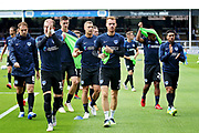 Portsmouth players warming up before the EFL Sky Bet League 1 match between Peterborough United and Portsmouth at London Road, Peterborough, England on 15 September 2018.