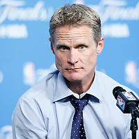 08 June 2016:  Golden State Warriors head coach Steve Kerr is seen during the press conference following the Cleveland Cavaliers 120-90 victory over the Golden State Warriors, during Game Three of the 2016 NBA Finals at the Quicken Loans Arena, Cleveland, Ohio, USA.