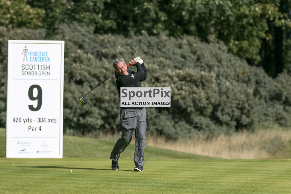 Sam Torrance (Scotland) hits his drive on the 9th hole (his 18th). Prostate Cancer UK Scottish Senior Open, 28th August 2015