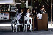 School kilds outside at Arayat Church in the city of Arayat, Pampanga, Philippines..Photo by Jason Doiy.6-9-08