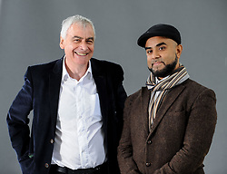 Pictured: Acclaimed author and researcher Dr Sadek Hamid and American author Philip Lewis at the Book Festival.<br /> <br /> © Dave Johnston / EEm