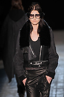Katlin Aas walks the runway wearing Alexander Wang Fall 2011 Collection during Mercedes-Benz Fashion Week in New York on February 12, 2011