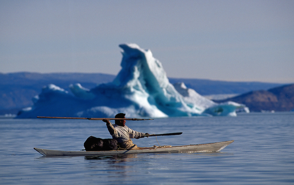 Inuit Narwhal Hunter Mamarut Kristiansen Just Throwing His Harpoon From Kayak Qaanaaq Greenland