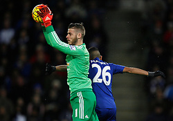 David De Gea of Manchester United (L) in action  - Mandatory byline: Jack Phillips/JMP - 07966386802 - 28/11/2015 - SPORT - FOOTBALL - Leicester - King Power Stadium - Leicester City v Manchester United - Barclays Premier League