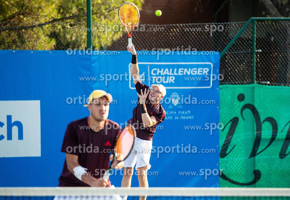 Aljaz Jakob Kaplja (SLO) and Robert Kjellberg (SWE) playing doubles during Day 4 of ATP Challenger Zavarovalnica Sava Slovenia Open 2018, on August 6, 2018 in Sports centre, Portoroz/Portorose, Slovenia. Photo by Vid Ponikvar / Sportida