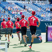 August 25, 2016, New Haven, Connecticut: <br /> Ball kids are shown on stadium court during Day 7 of the 2016 Connecticut Open at the Yale University Tennis Center on Thursday, August  25, 2016 in New Haven, Connecticut. <br /> (Photo by Billie Weiss/Connecticut Open)