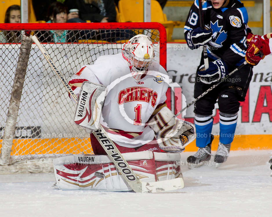 20 March 2012:  goalie Mitch Gillam (1) of the Chiefs  during a playoff game between the Chilliwack Chiefs and the Penticton Vees. Game #4 of best of 7. Final Score: Chilliwack 3 Penticton 1 - the  Best of 7 series is now tied at 2-2.  Prospera Centre, Chilliwack, BC.  ****(Photo by Bob Frid/Freemotionphotography.ca) All Rights Reserved : cell 778-834-2455 : email: bob.frid@shaw.ca ****