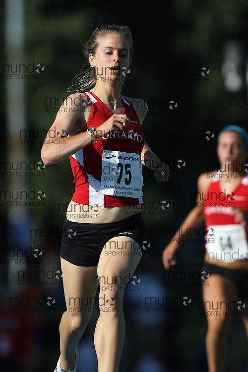 (Ottawa, Ontario---14 August 2008)  Leah Larocque of Ontario Red competing in the women's 1500m at the 2008 Ontario Summer Games and Ontario v. Quebec v. Atlantic Canada Espoire Meet. Photo copyright Sean Burges/Mundo Sport Images. More details can be found at www.msievents.com.