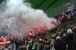 21.10.2015, Volkswagen Arena, Wolfsburg, GER, UEFA CL, VfL Wolfsburg vs PSV Eindhoven, Gruppe B, im Bild Die Fans des PSV Eindhoven entzuendeten vor dem Spiel im Unterrang Rauchbomben // during UEFA Champions League group B match between VfL Wolfsburg and PSV Eindhoven at the Volkswagen Arena in Wolfsburg, Germany on 2015/10/21. EXPA Pictures © 2015, PhotoCredit: EXPA/ Eibner-Pressefoto/ Hundt<br /> <br /> *****ATTENTION - OUT of GER*****