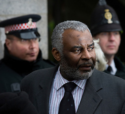 © Licensed to London News Pictures. 04/01/2012. London, UK.  Neville Lawrence leaving The Old Bailey in London on January 4th, 2012 to talk to the media after the sentencing of Gary Dobson and David Norris to a combined total of over 29 years for the murder of teenager Stephen Lawrence. Photo credit : Ben Cawthra/LNP