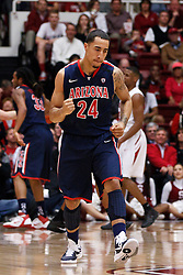 February 3, 2011; Stanford, CA, USA;  Arizona Wildcats guard Brendon Lavender (24) celebrates after making a three point basket against the Stanford Cardinal during the first half at Maples Pavilion.  Arizona defeated Stanford 78-69.