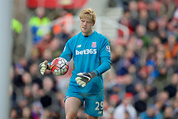 STOKE-ON-TRENT, ENGLAND - Saturday, April 30, 2016: Stoke City's goalkeeper Jakob Haugaard in action against Sunderland during the FA Premier League match at the Britannia Stadium. (Pic by David Rawcliffe/Propaganda)