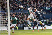 Ross County Forward Liam Boyce missing the header  during the Scottish League Cup Final match between Hibernian and Ross County at Hampden Park, Glasgow, United Kingdom on 13 March 2016. Photo by Craig McAllister.
