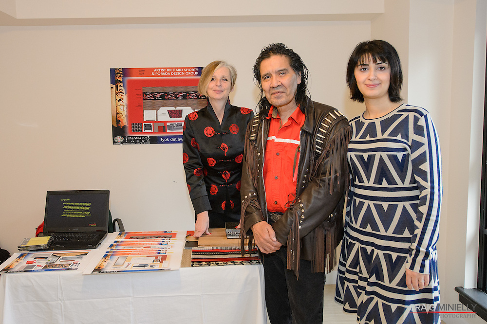 Press Conference Jan 29 2014<br /> Skwachays Lodge Hotel Conversion<br /> <br /> Vicki Pearson, Porada Design; Richard Shorty, Artist; Vanissa Saffari, Porada Design<br /> <br /> photo: Craig Minielly / Aura Photographics
