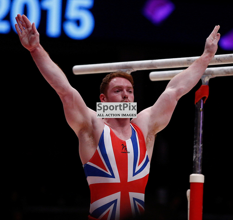 2015 Artistic Gymnastics World Championships being held in Glasgow from 23rd October to 1st November 2015.....Great Britain's Daniel Purves performs in the Parallel Bars routine in the Men's All-Round Final...(c) STEPHEN LAWSON | SportPix.org.uk