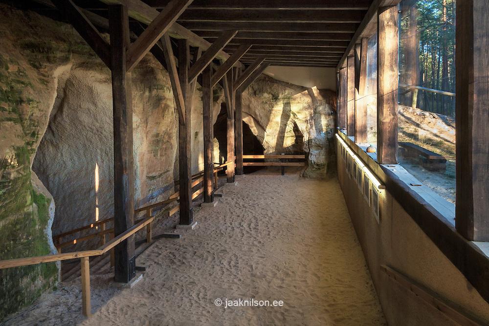 Entrance building into Nature reserve of  Piusa caves, Estonia. Wooden