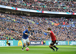 Ross Barkley of Everton attacks down the Manchester united wing. - Mandatory by-line: Alex James/JMP - 23/04/2016 - FOOTBALL - Wembley Stadium - London, England - Everton v Manchester United - The Emirates FA Cup Semi-Final