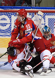 Eric Staal (12) of Canada under Daniil Markov (55) of Russia at  ice-hockey game Canada vs Russia at finals of IIHF WC 2008 in Quebec City,  on May 18, 2008, in Colisee Pepsi, Quebec City, Quebec, Canada. Win of Russia 5:4 and Russians are now World Champions 2008. (Photo by Vid Ponikvar / Sportal Images)