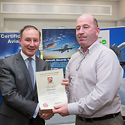 24.05.2018.       <br /> The Limerick Institute of Technology with Atlantic Air Adventures and funding from the Aviation Skillnet presented over forty certificates to Aviation professionals who have completed the Certificate in Aviation, The Aircraft Records Technician Level 7 and Part 21 Design, Level 7.<br /> <br /> Pictured at the event was Jim Gavin, The Irish Aviation Authority and Manager of the Dublin Football Team who presented, Bernard Finneran with their cert.<br /> <br /> LIT in partnership with Atlantic Air Adventures, CAE Parc Aviation, Part 21 Design and industry experts such as Anton Tams, GECAS, Don Salmon, CAE Parc Aviation and Mick Malone, Part 21 Design have developed and deliver these key training programmes with funding for aviation companies provided by The Aviation Skillnet.<br /> <br /> . Picture: Alan Place