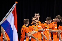 11-04-2019 NED: Netherlands - Slovenia, Almere<br /> Third match 2020 men European Championship Qualifiers in Topsportcentrum in Almere. Slovenia win 26-27 / Luc Steins #12 of Netherlands, Ivo Steins #17 of Netherlands, Robin Schoenaker #19 of Netherlands
