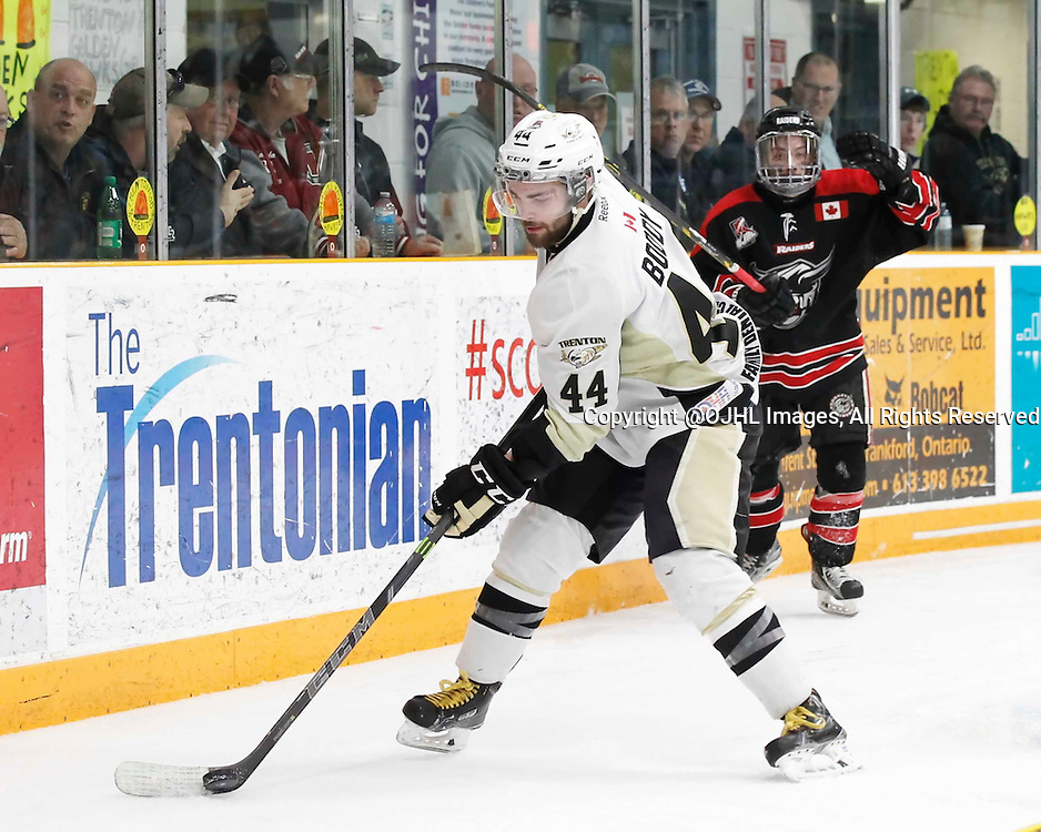 TRENTON, - Apr 17, 2016 -  Ontario Junior Hockey League game action between the Trenton Golden Hawks and the Georgetown Raiders. Game 3 of the Buckland Cup Championship Series, Nick Boddy #44 of the Trenton Golden Hawks skates with the puck during the second period at the Duncan Memorial Gardens, ON. (Photo by Amy Deroche / OJHL Images)