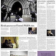 "Tearsheet of ""Catholic Church's Hold on Schools at Issue in Changing Ireland"" published in The New York Times"