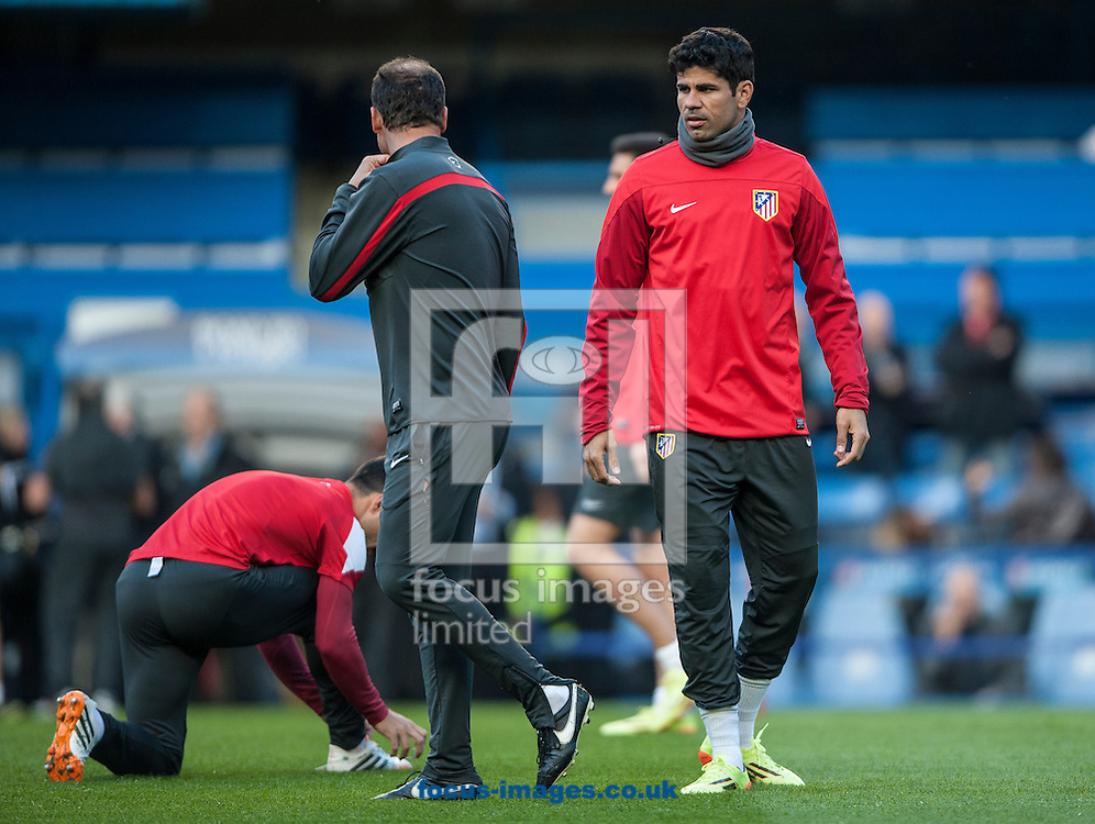 Atletico Madrid's Diego Costa (right) during training at Stamford Bridge, London ahead of their UEFA Champions League semi final second leg against Chelsea.<br /> Picture by Daniel Hambury/Focus Images Ltd +44 7813 022858<br /> 29/04/2014