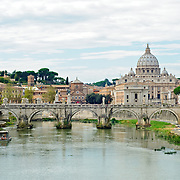 Tiber River in the middle of Rome, looking towards St. Peter's Cathedral and the Vatican