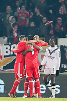20120103: GUIMARAES, PORTUGAL - Portuguese League Cup, 3rd Stage, Round 1: VSC Guimaraes vs SL Benfica. <br /> In photo: Benfica players celebrate a goal. <br /> PHOTO: CITYFILES