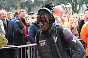 Wilfried Zaha (11) of Crystal Palace arriving at the Vitality Stadium before the Premier League match between Bournemouth and Crystal Palace at the Vitality Stadium, Bournemouth, England on 7 April 2018. Picture by Graham Hunt.