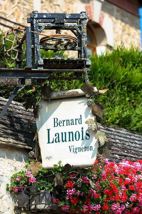 Sign for Champagne Vigneron Bernard Launois  along the Champagne Tourist Route in the Marne Valley, Champagne-Ardenne, France