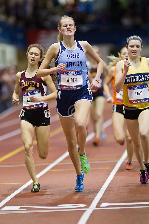 Millrose Games indoor track and field: high school girl's Mile, Burda, Width, Leff